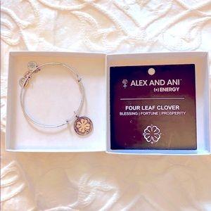Alex & Ani Silver Tone Four Leaf Clover Bracelet